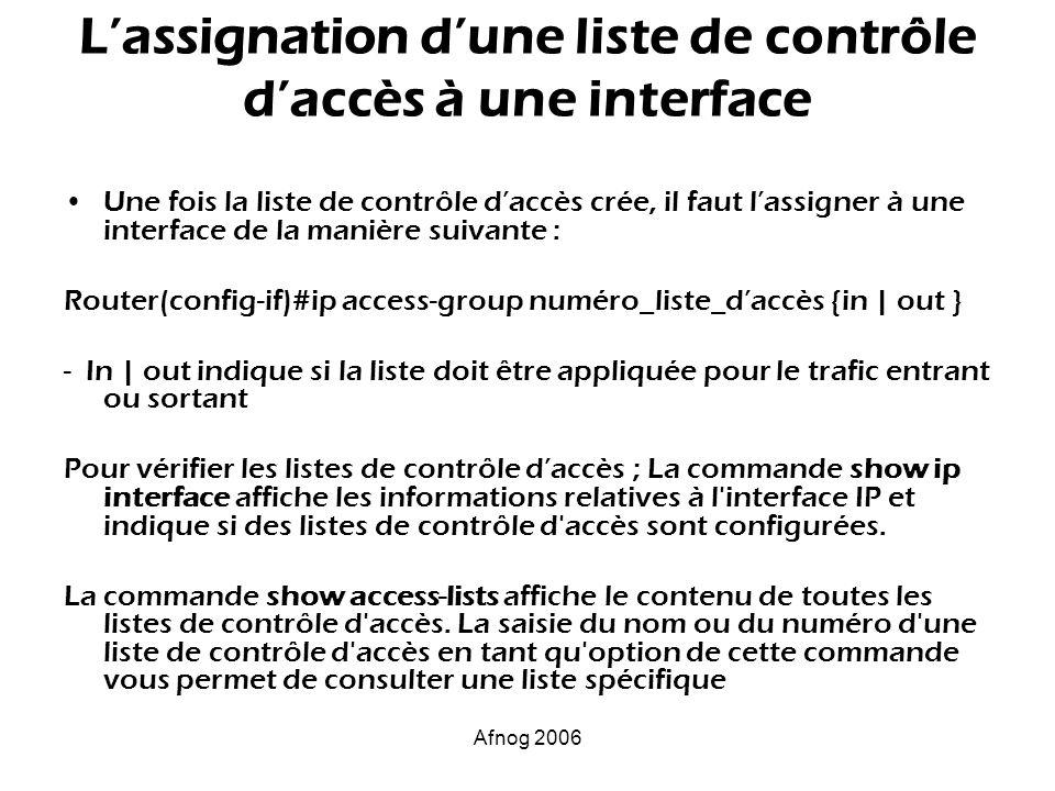 L'assignation d'une liste de contrôle d'accès à une interface
