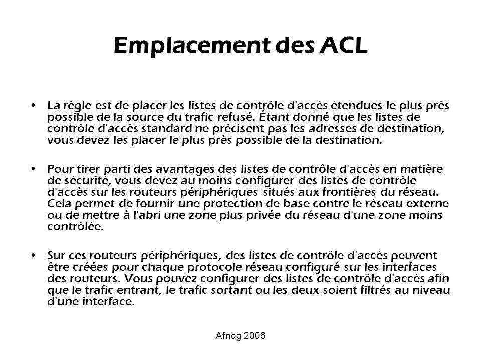 Emplacement des ACL