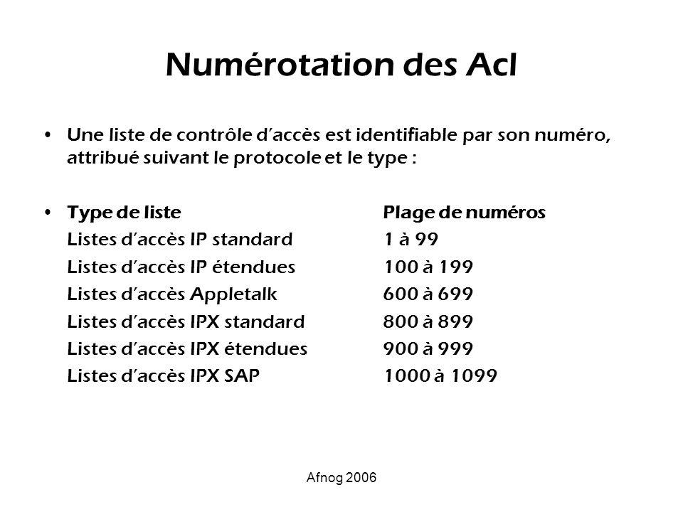 Numérotation des AclUne liste de contrôle d'accès est identifiable par son numéro, attribué suivant le protocole et le type :