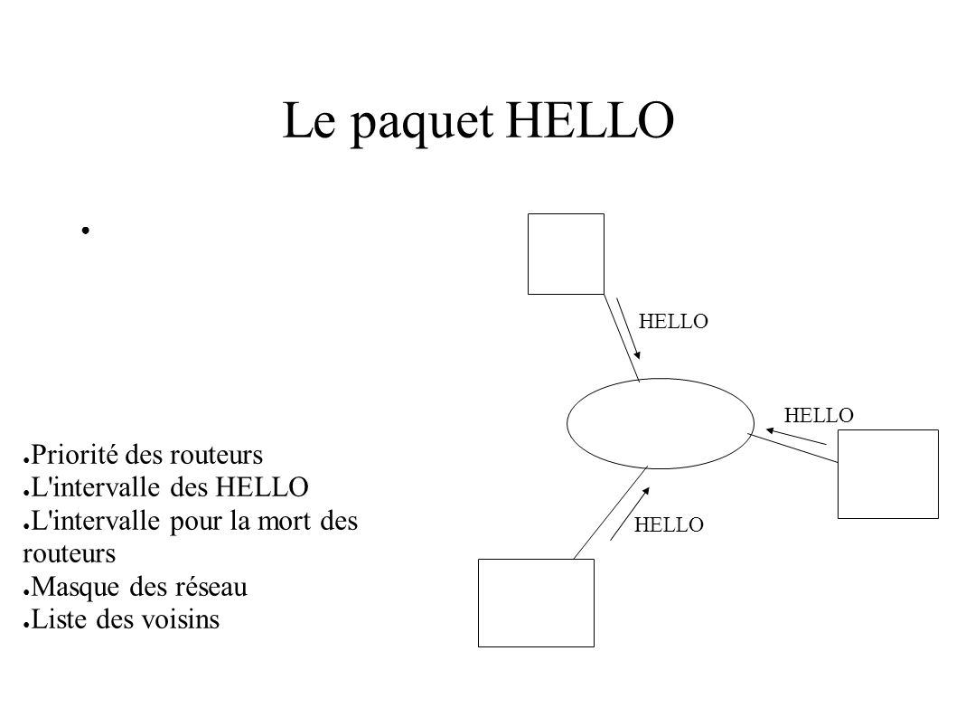 Le paquet HELLO HELLO Priorité des routeurs L intervalle des HELLO