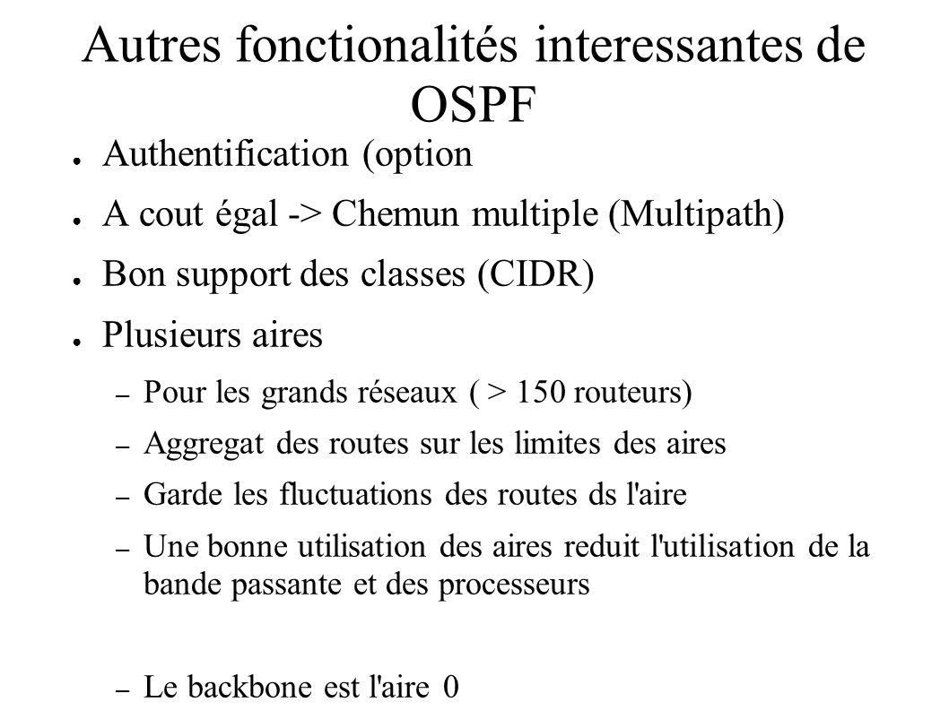 Autres fonctionalités interessantes de OSPF