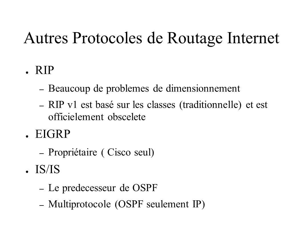Autres Protocoles de Routage Internet