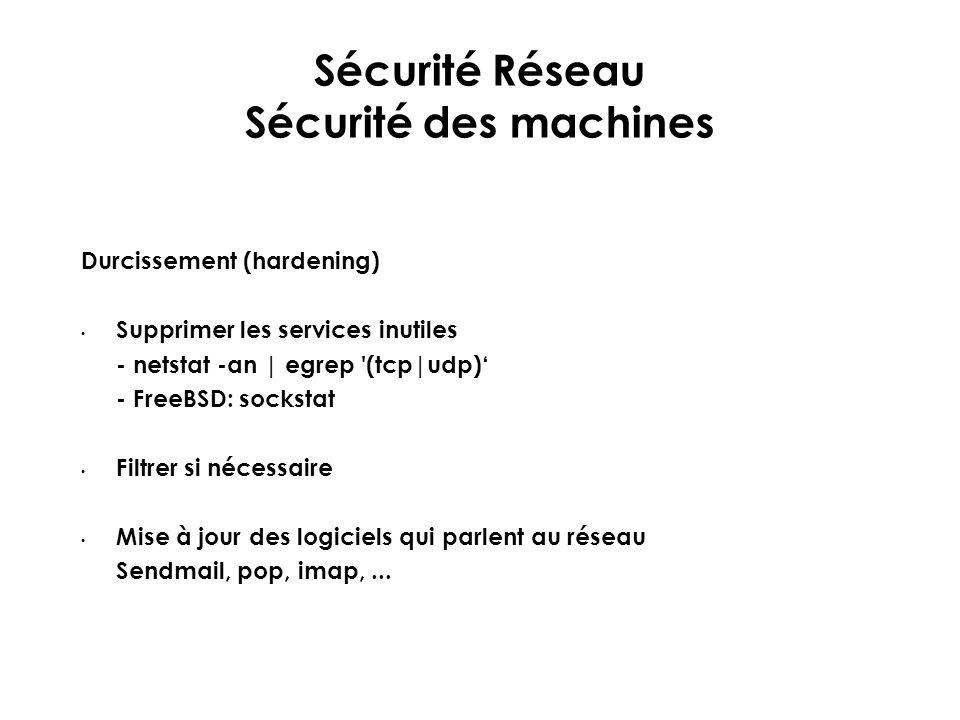 Sécurité Réseau Sécurité des machines