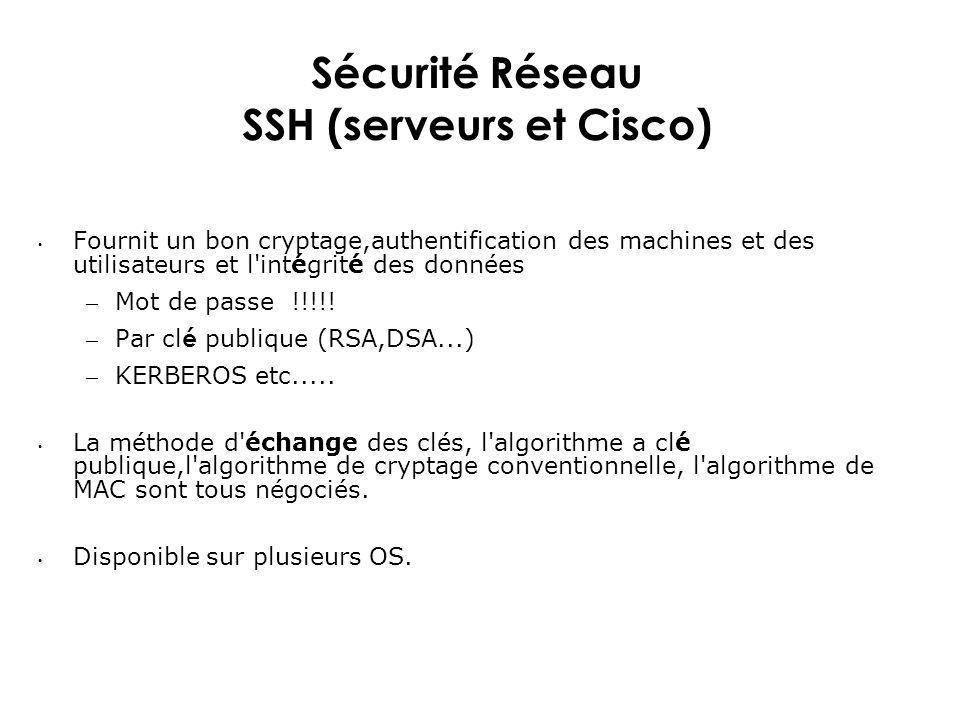 Sécurité Réseau SSH (serveurs et Cisco)