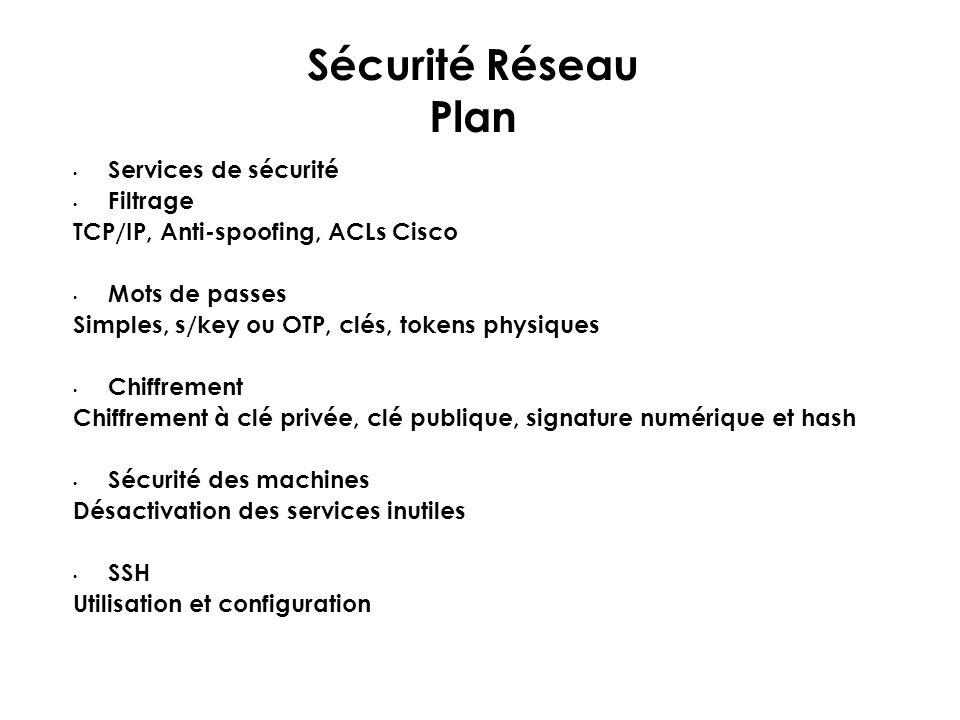 Sécurité Réseau Plan Services de sécurité Filtrage