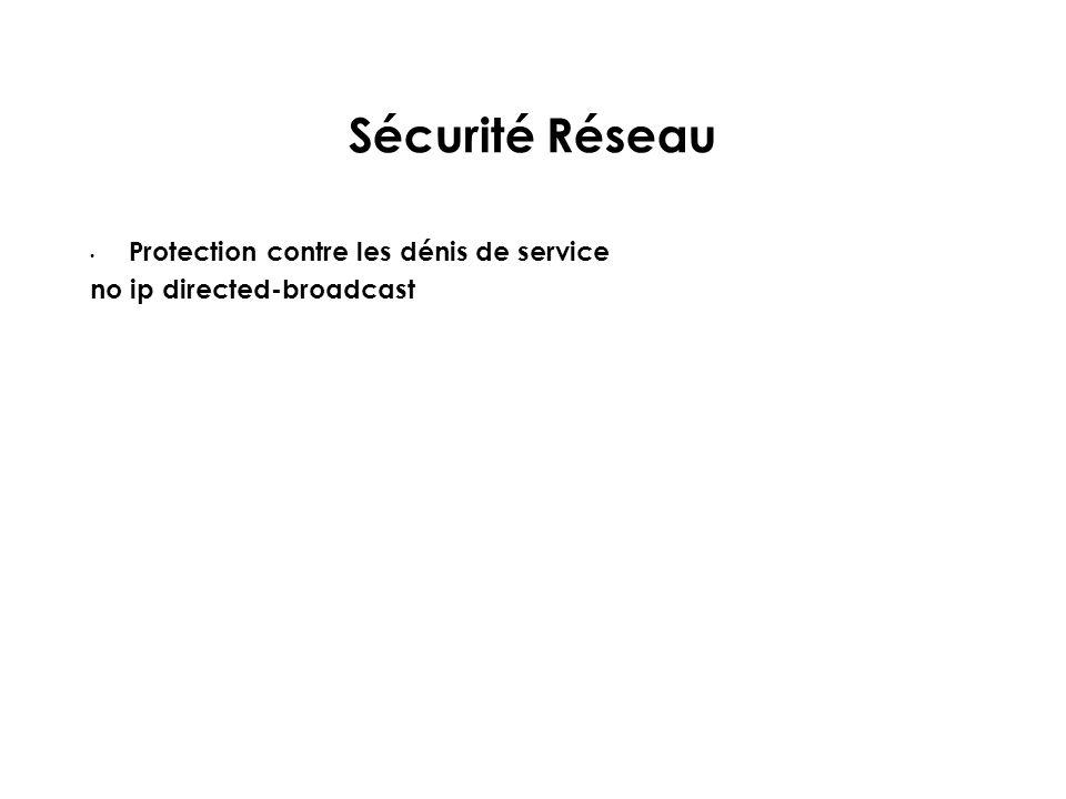 Sécurité Réseau Protection contre les dénis de service