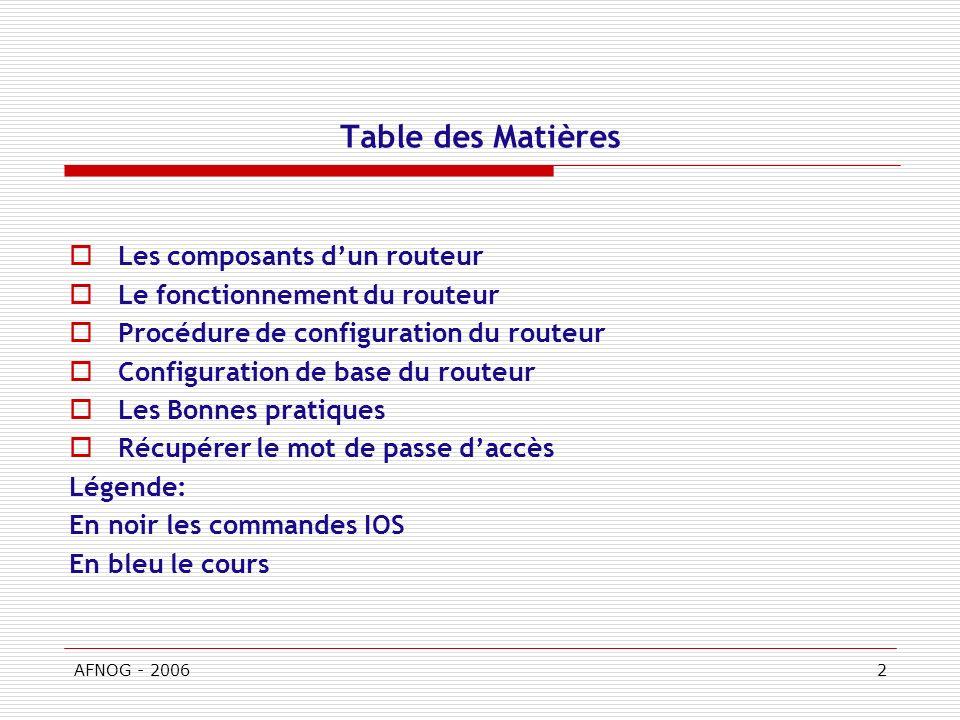 Table des Matières Les composants d'un routeur
