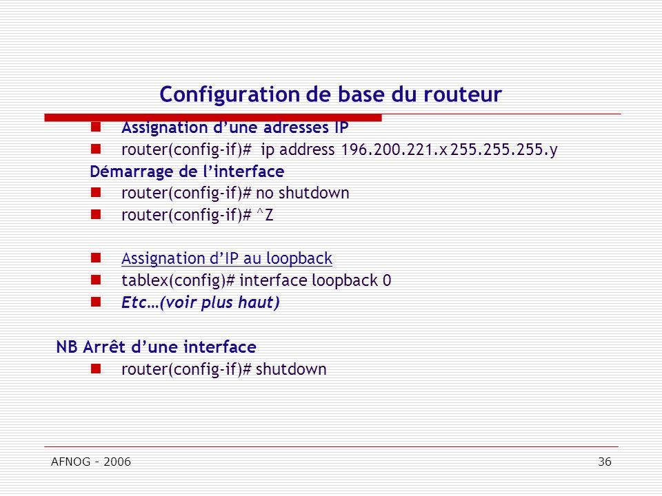 Configuration de base du routeur