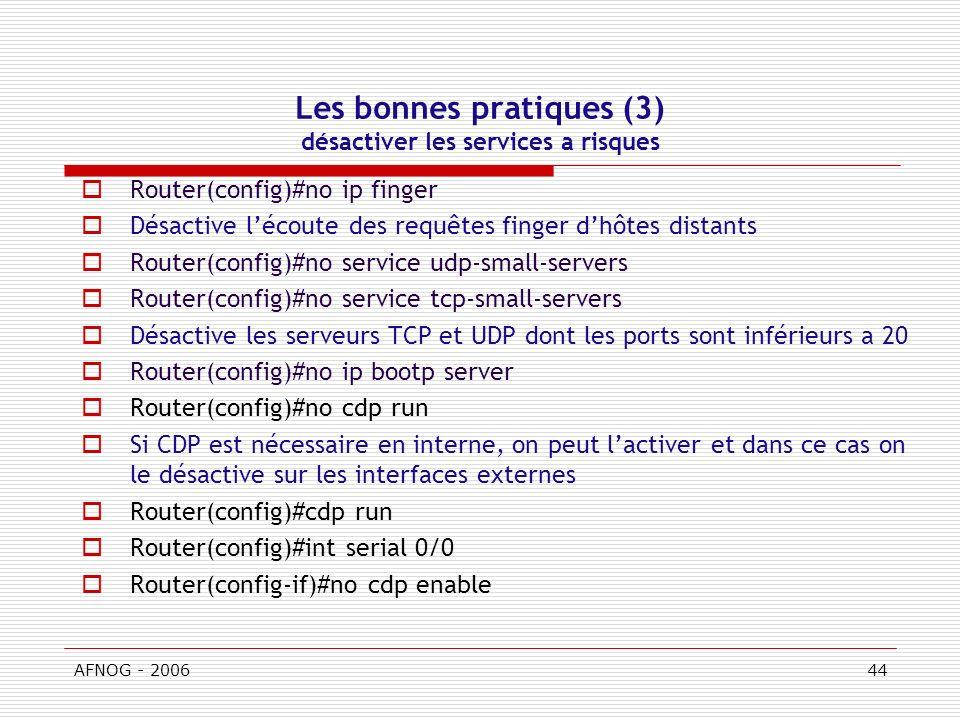 Les bonnes pratiques (3) désactiver les services a risques