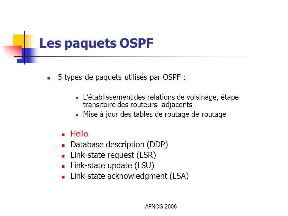 Les paquets OSPF Hello Database description (DDP)