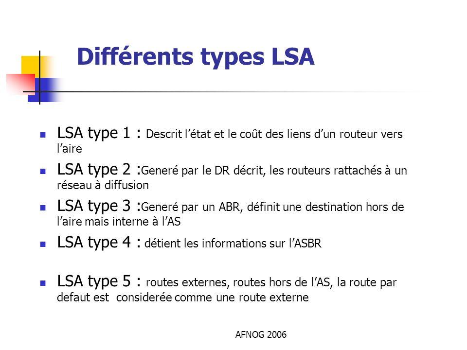 Différents types LSALSA type 1 : Descrit l'état et le coût des liens d'un routeur vers l'aire.