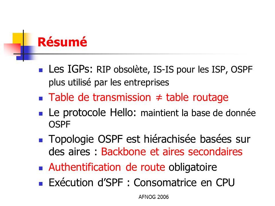 Résumé Les IGPs: RIP obsolète, IS-IS pour les ISP, OSPF plus utilisé par les entreprises. Table de transmission ≠ table routage.