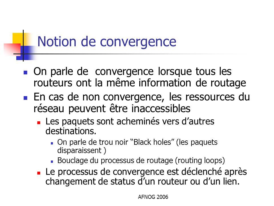 Notion de convergence On parle de convergence lorsque tous les routeurs ont la même information de routage.