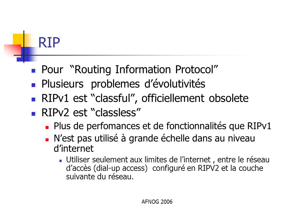 RIP Pour Routing Information Protocol