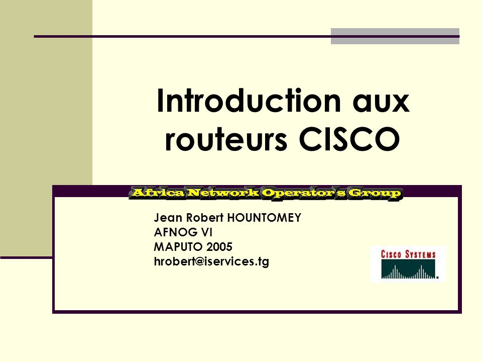 Introduction aux routeurs CISCO