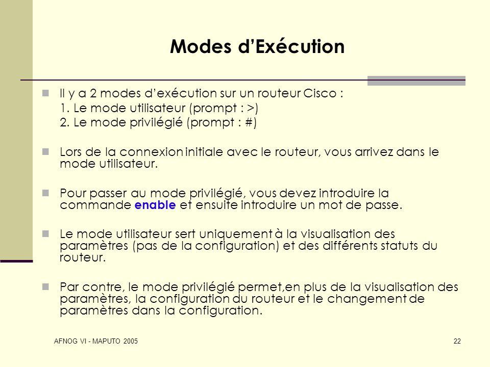 Modes d'Exécution Il y a 2 modes d'exécution sur un routeur Cisco :