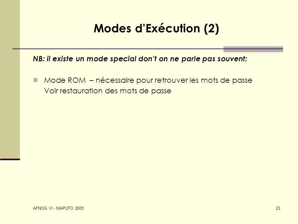 Modes d'Exécution (2) NB: il existe un mode special don't on ne parle pas souvent: Mode ROM – nécessaire pour retrouver les mots de passe.