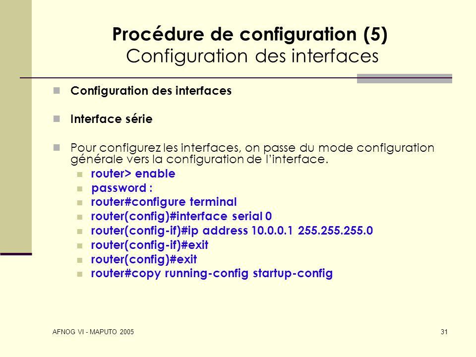 Procédure de configuration (5) Configuration des interfaces