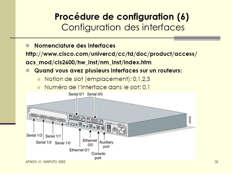 Procédure de configuration (6) Configuration des interfaces