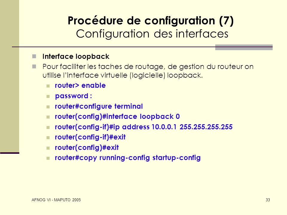 Procédure de configuration (7) Configuration des interfaces