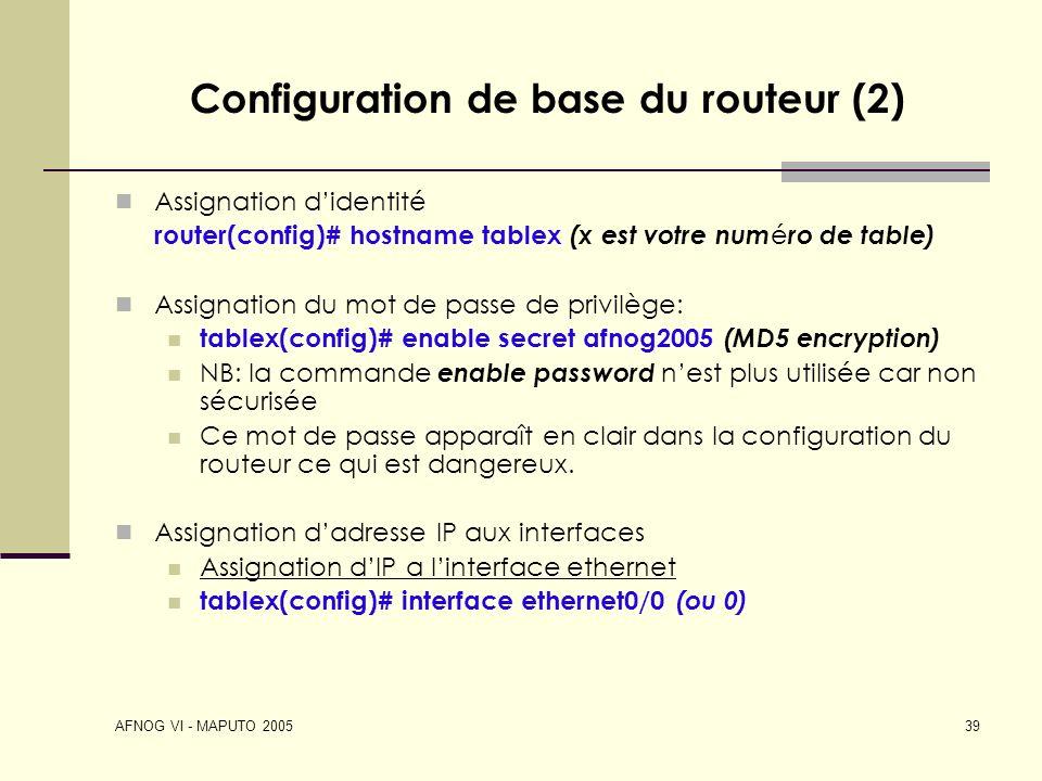 Configuration de base du routeur (2)