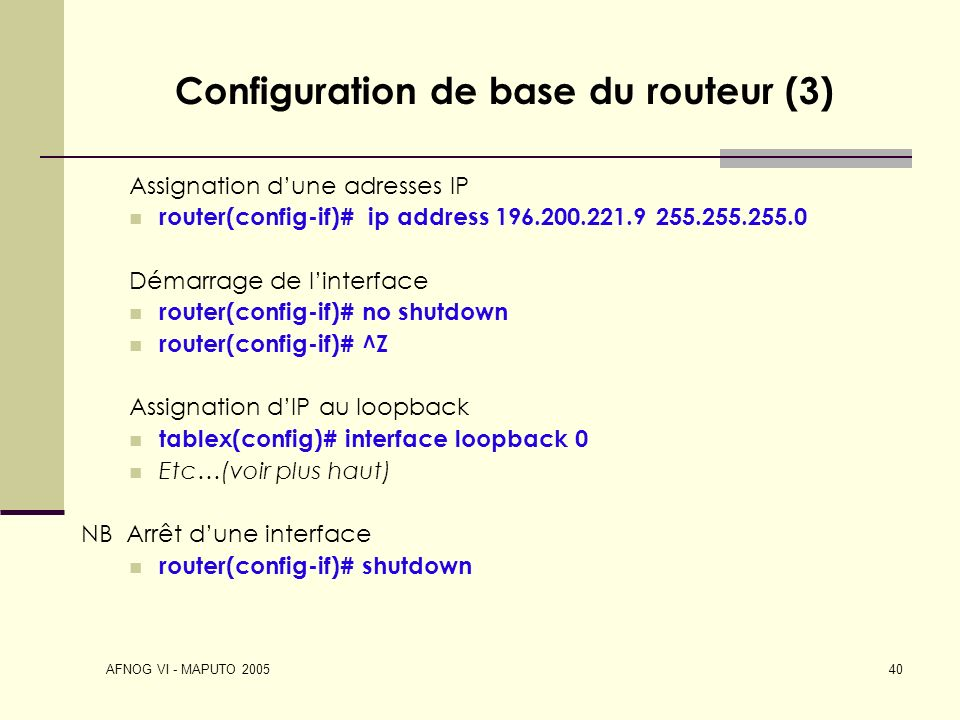 Configuration de base du routeur (3)