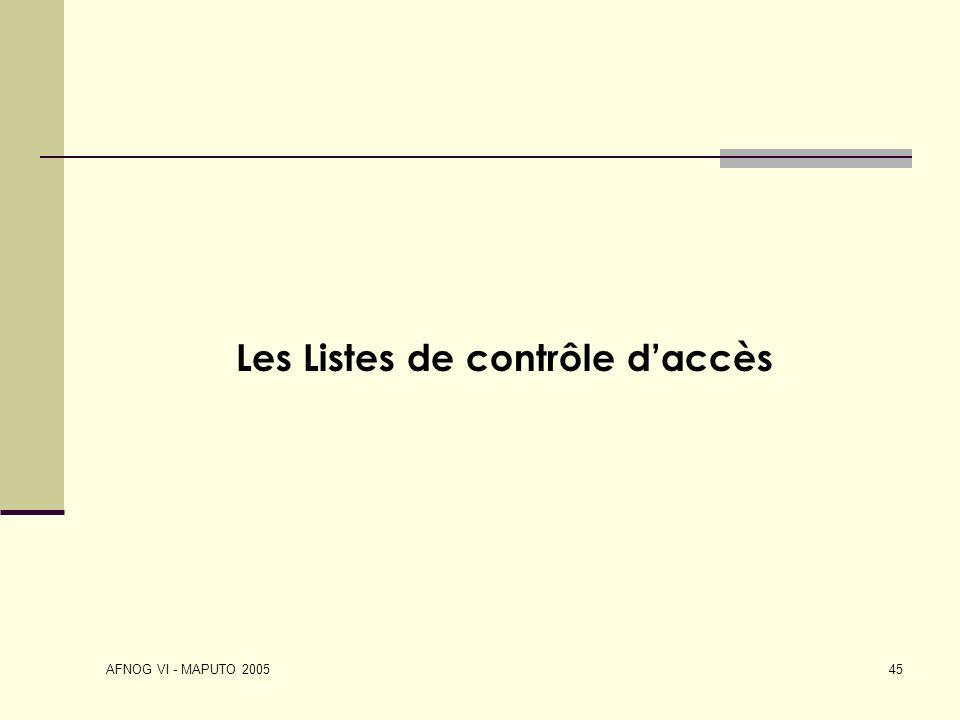 Les Listes de contrôle d'accès