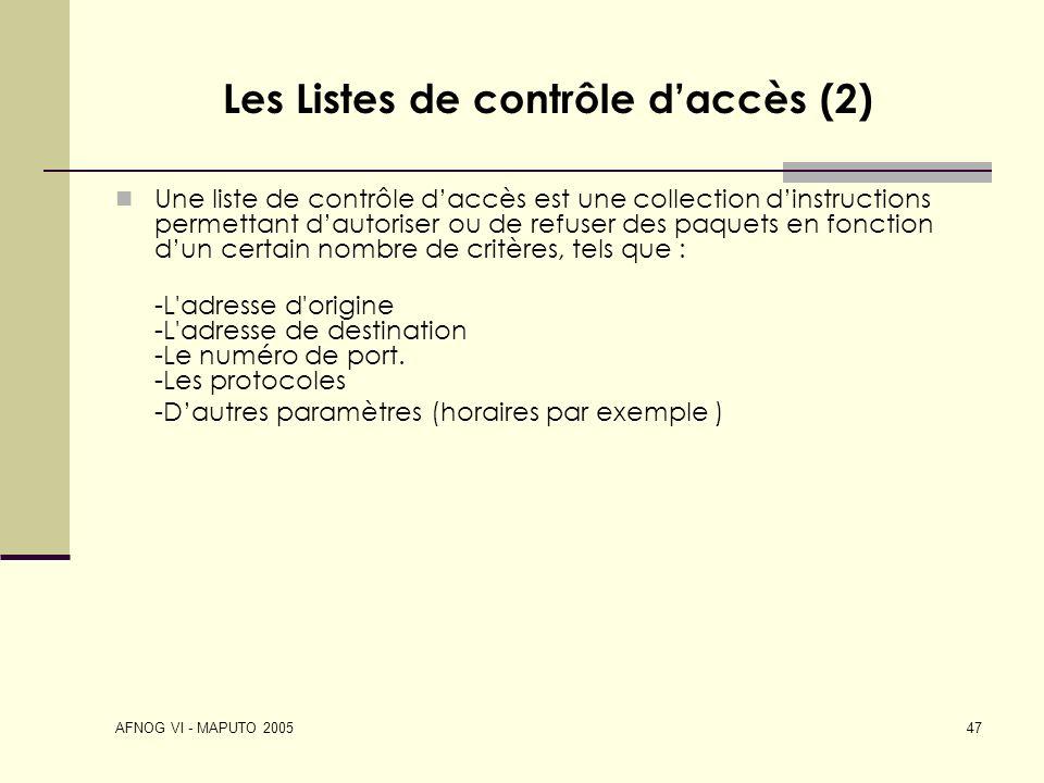 Les Listes de contrôle d'accès (2)