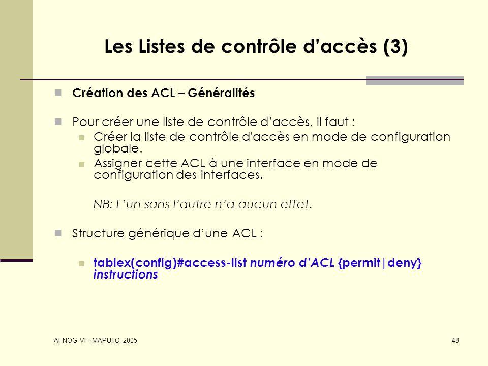 Les Listes de contrôle d'accès (3)