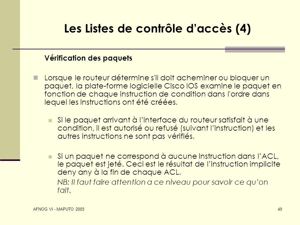 Les Listes de contrôle d'accès (4)