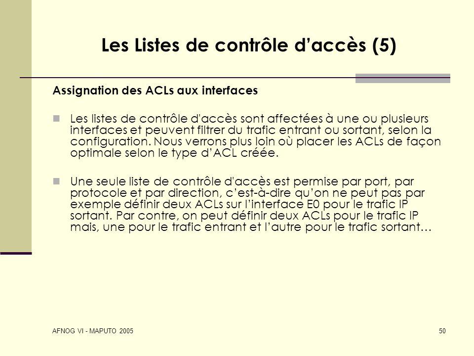Les Listes de contrôle d'accès (5)