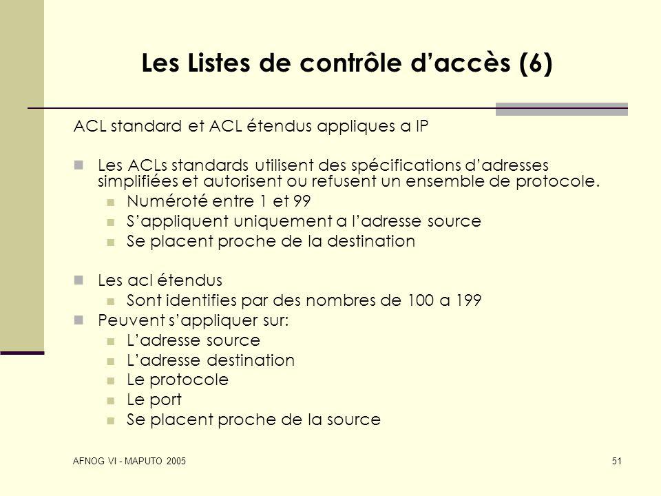 Les Listes de contrôle d'accès (6)