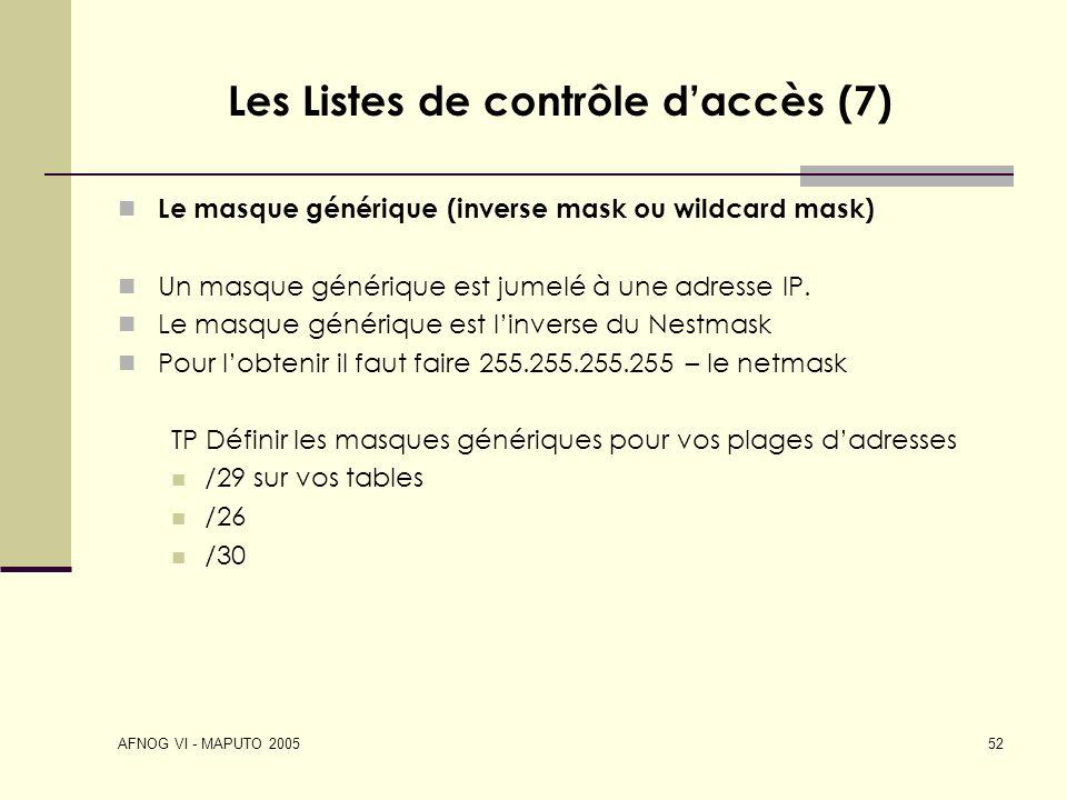 Les Listes de contrôle d'accès (7)