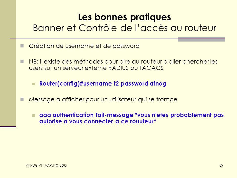 Les bonnes pratiques Banner et Contrôle de l'accès au routeur