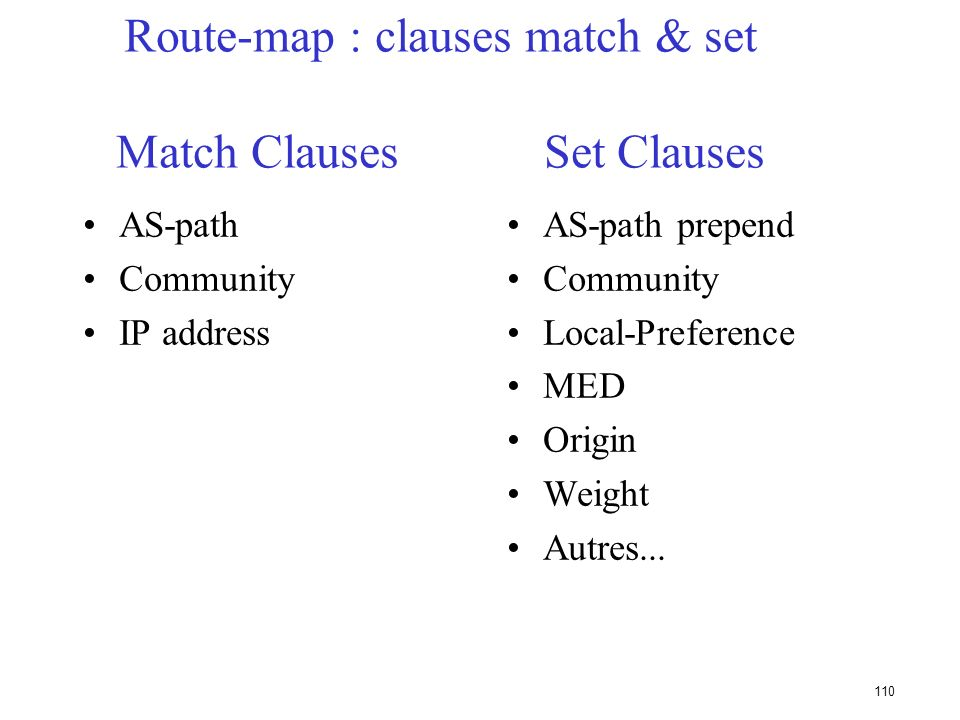 Route-map : clauses match & set Match Clauses Set Clauses