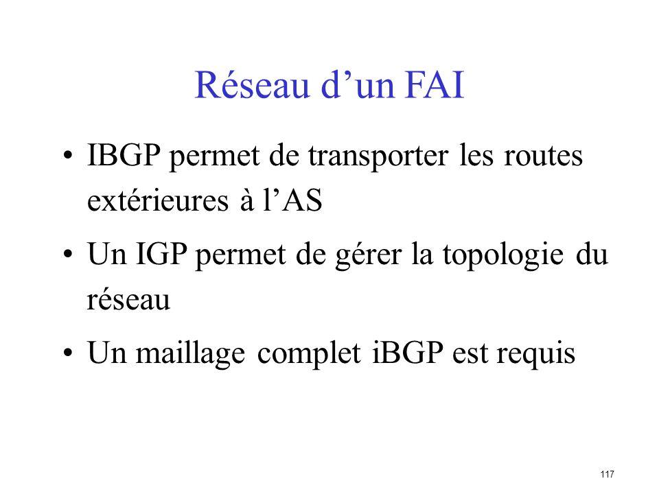 Réseau d'un FAI IBGP permet de transporter les routes extérieures à l'AS. Un IGP permet de gérer la topologie du réseau.