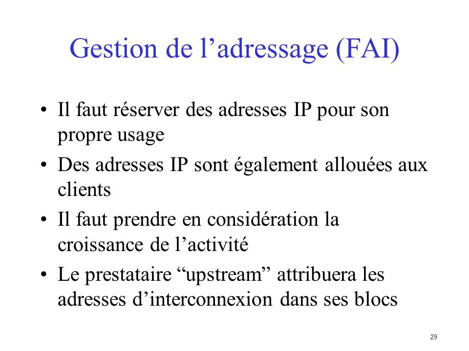 Gestion de l'adressage (FAI)