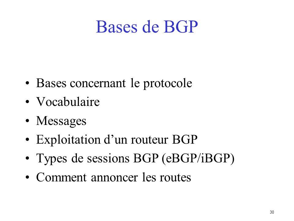 Bases de BGP Bases concernant le protocole Vocabulaire Messages