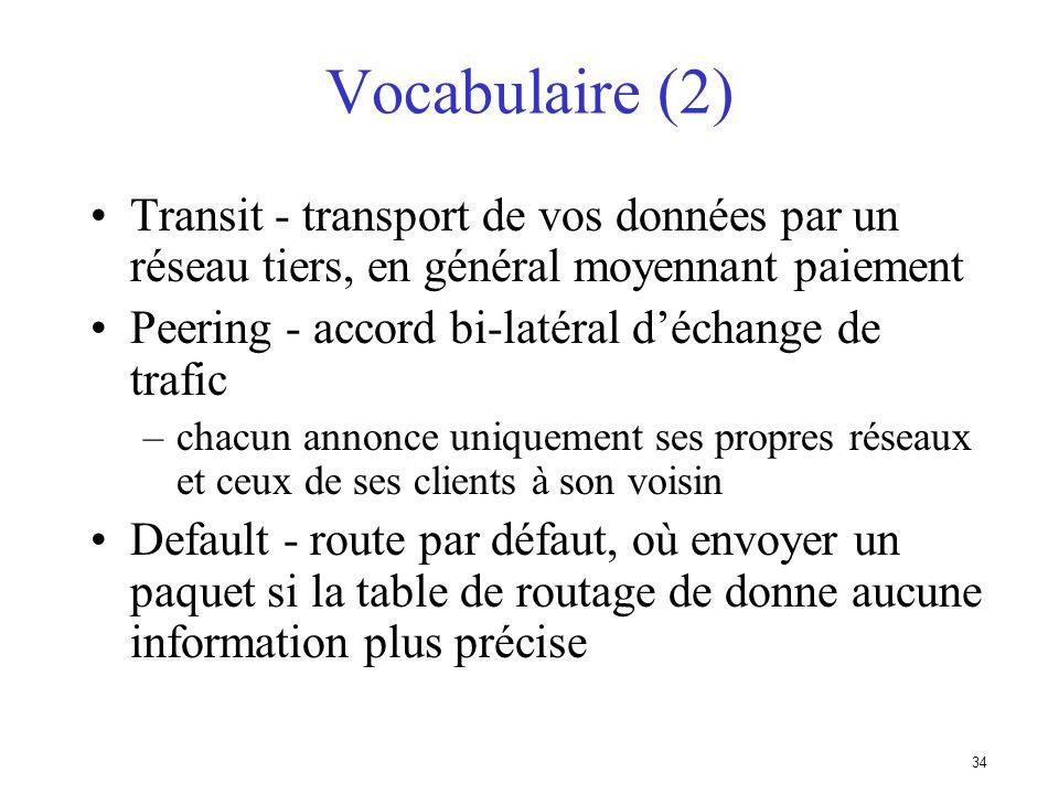 Vocabulaire (2) Transit - transport de vos données par un réseau tiers, en général moyennant paiement.