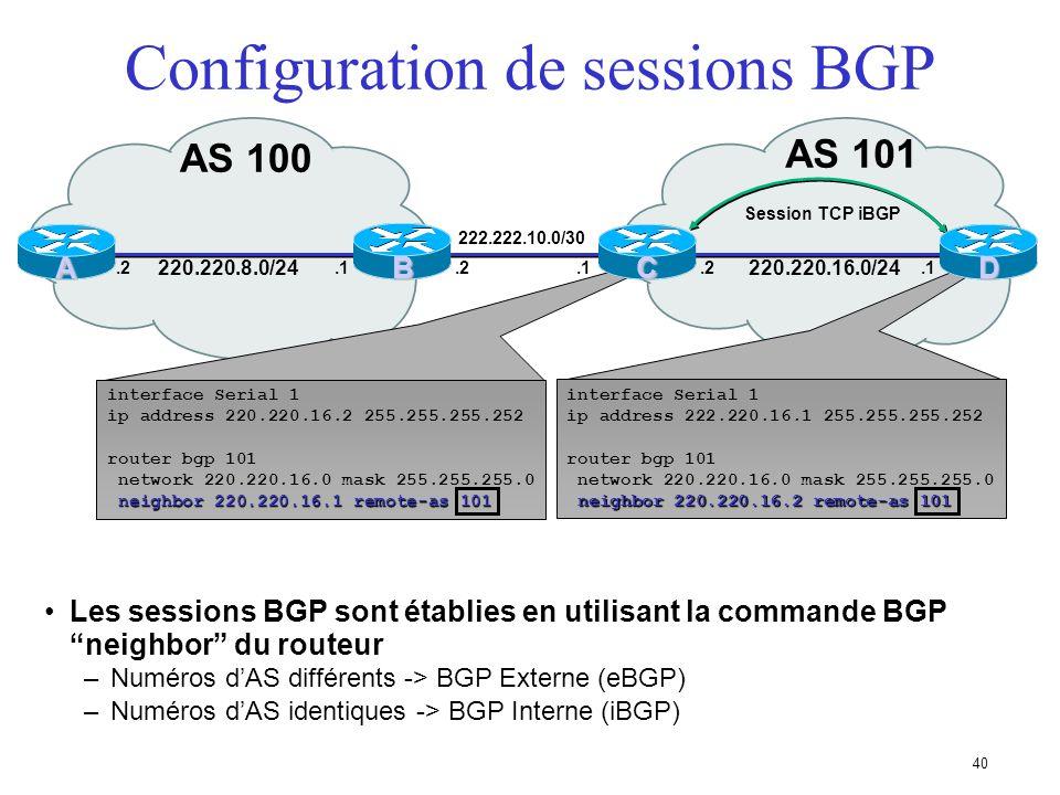 Configuration de sessions BGP