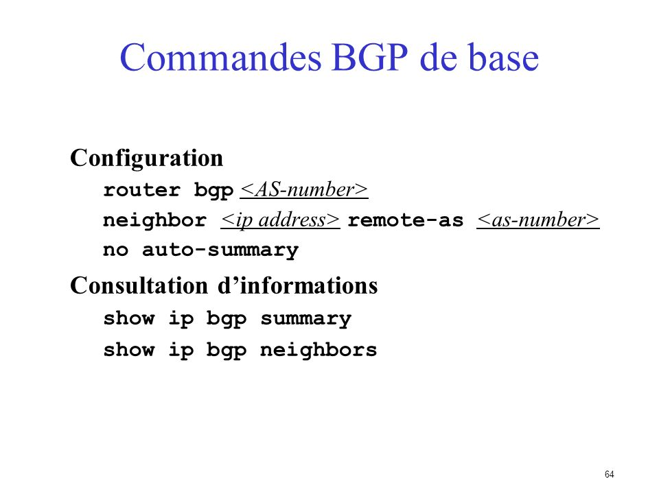 Commandes BGP de base Configuration Consultation d'informations