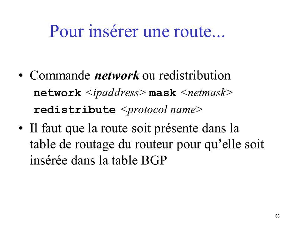 Pour insérer une route... Commande network ou redistribution