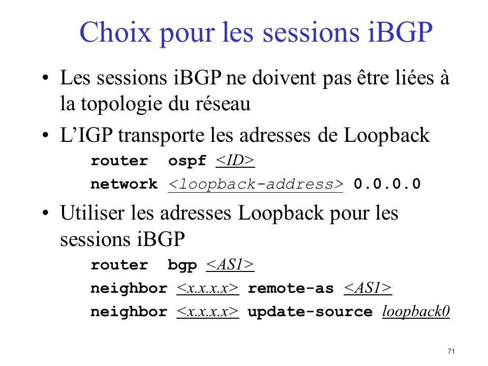 Choix pour les sessions iBGP