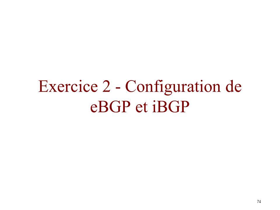 Exercice 2 - Configuration de eBGP et iBGP