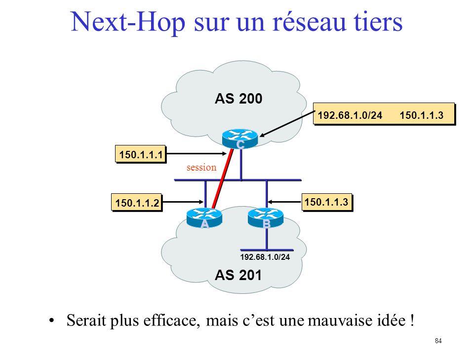 Next-Hop sur un réseau tiers
