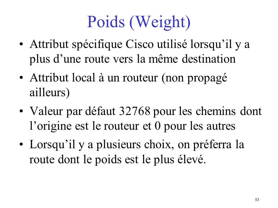 Poids (Weight) Attribut spécifique Cisco utilisé lorsqu'il y a plus d'une route vers la même destination.