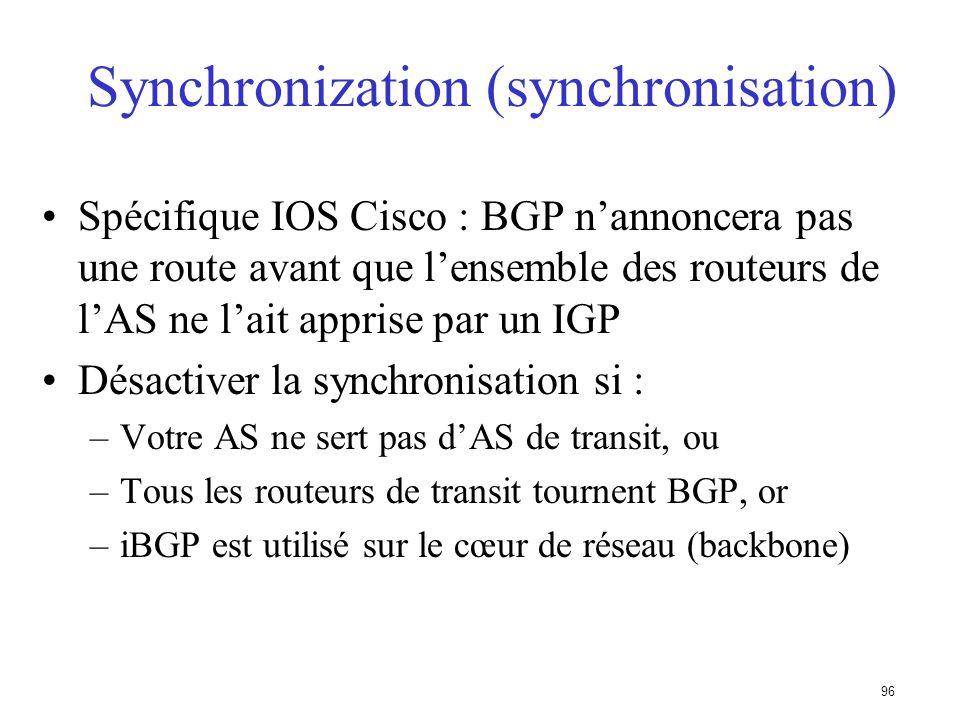 Synchronization (synchronisation)
