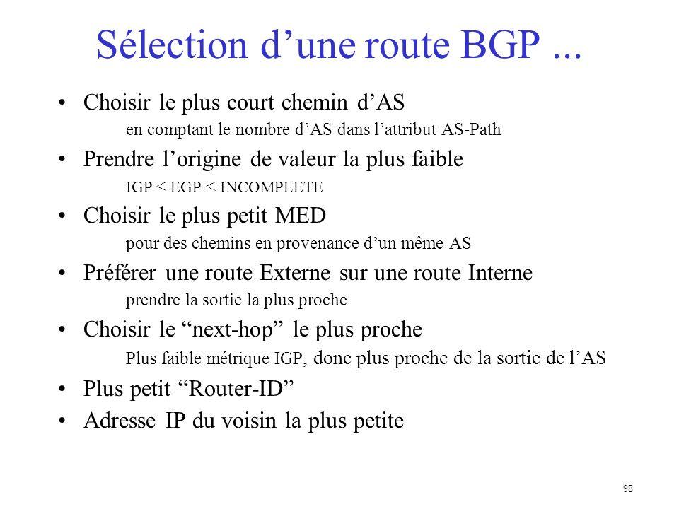Sélection d'une route BGP ...