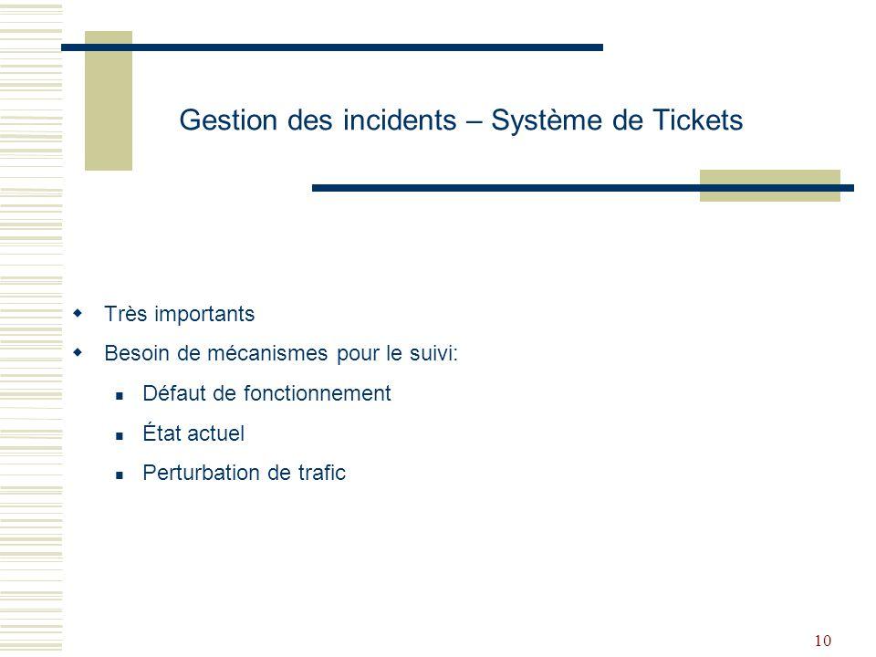 Gestion des incidents – Système de Tickets