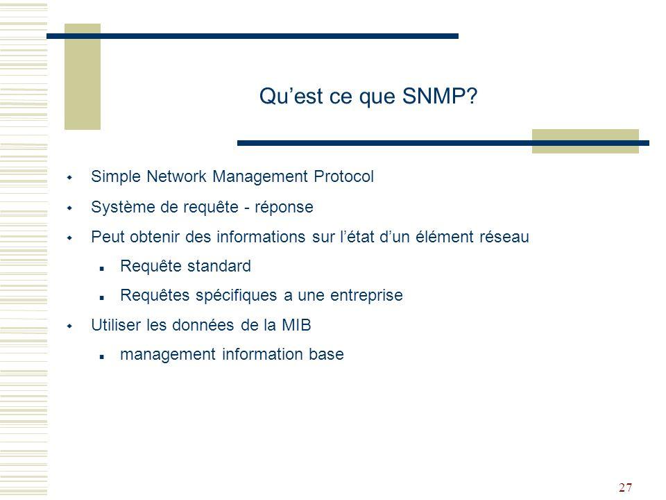 Qu'est ce que SNMP Simple Network Management Protocol